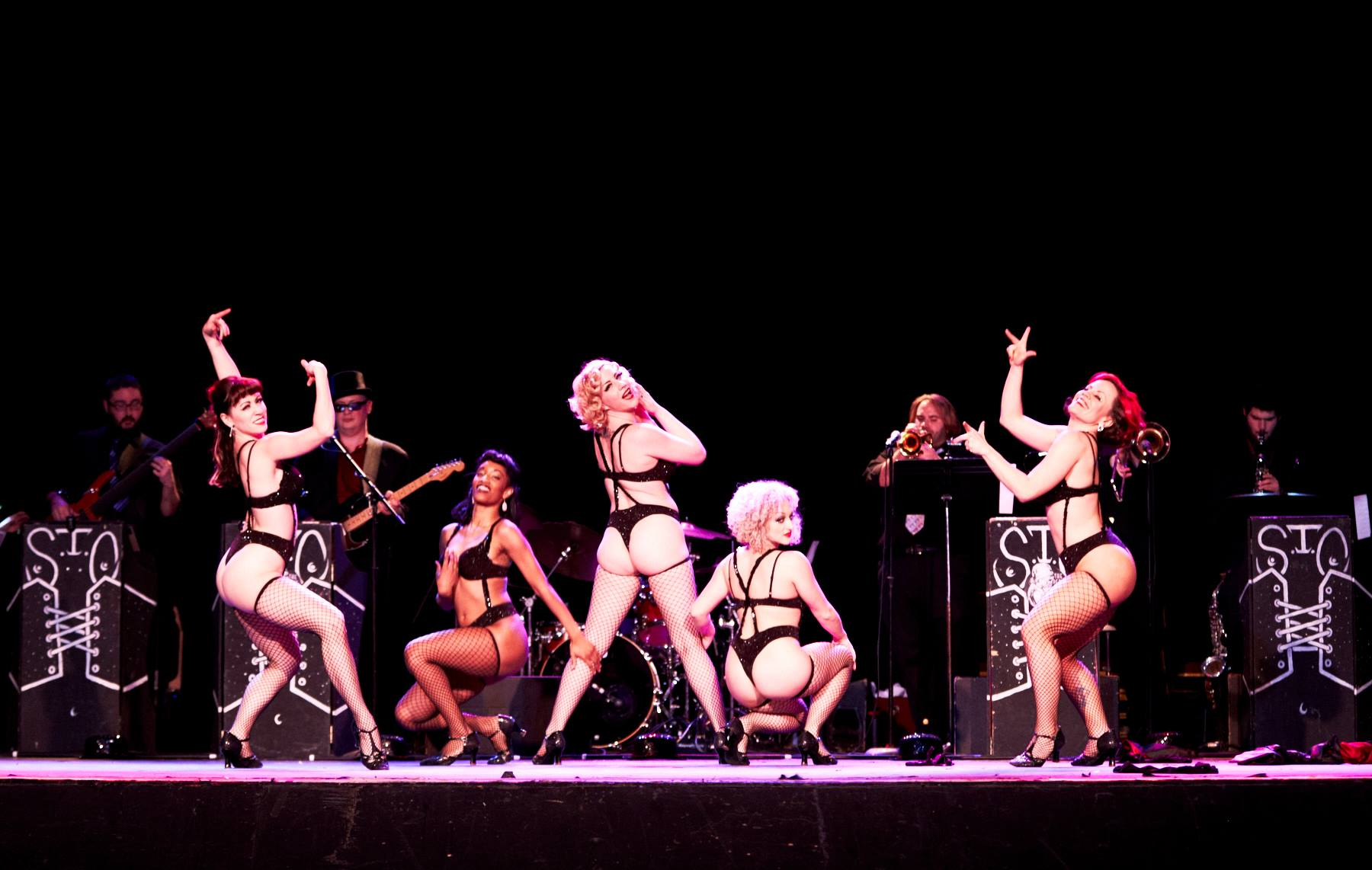 Peek-A-Boo Revue with band. ChrisKPhotography